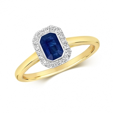 Diamond & Octagon Cut Sapphire Ring 0.79ct, 9k Gold