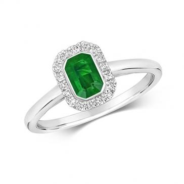 Emerald & Diamond Ring 0.64ct, 9k White Gold
