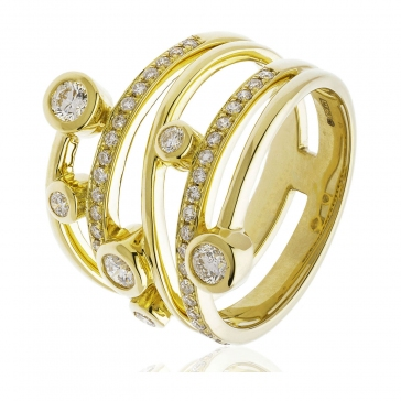 Diamond Dress/Cocktail Ring 0.60ct, 18k Gold