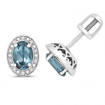 London Blue Topaz & Diamond Oval Stud Earrings