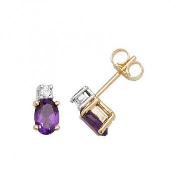 Natural Amethyst & Diamond Oval Stud Earrings, 9k Gold