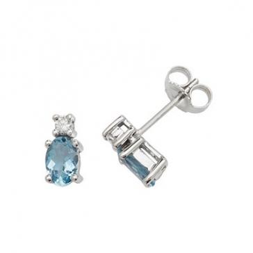 Natural Aquamarine & Diamond Oval Stud Earrings, 9k White Gold