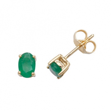 Natural Emerald Oval Stud Earrings, 9k Gold