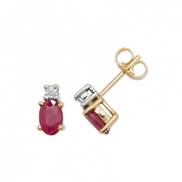 Natural Ruby & Diamond Oval Stud Earrings, 9k Gold