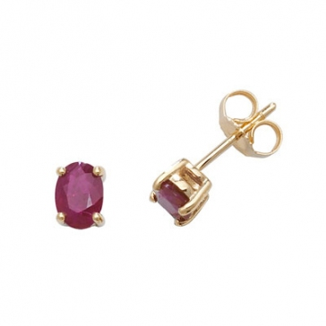 Natural Ruby Oval Stud Earrings, 9k Gold