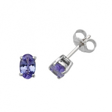 Natural Tanzanite Oval Stud Earrings, 9k White Gold