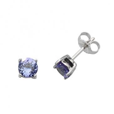 Natural Tanzanite Stud Earrings 5mm, 9k White Gold