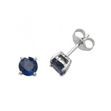 Natural Blue Sapphire Stud Earrings 5mm, 9k White Gold