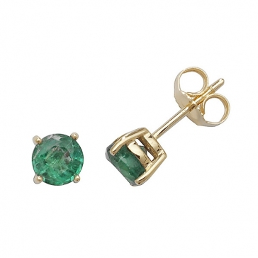 1.00ct. Natural Emerald Stud Earrings 5mm, 9k Gold