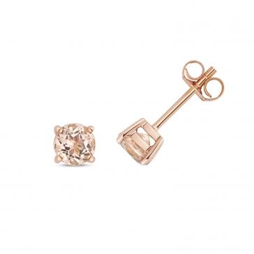 Natural Morganite Stud Earrings 5mm, 9k Rose Gold