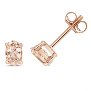 Natural Oval Morganite Stud Earrings 6x4mm, 9k Gold