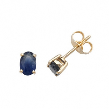 Natural Sapphire Oval Stud Earrings, 9k Gold