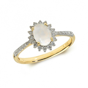 Opal & Diamond Ring 0.72ct. 9k Gold