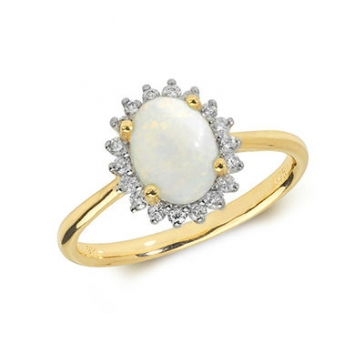 Opal & Diamond Ring 0.95ct. 9k Gold
