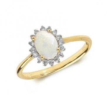 Opal & Diamond Ring 0.60ct. 9k Gold