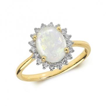 Opal & Diamond Ring 1.36ct. 9k Gold
