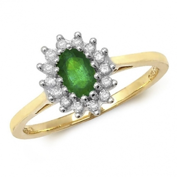 Oval Emerald Ring with Diamond Surround, 0.49ct, 9k Gold