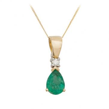 Pear Shape Emerald & Diamond Pendant Necklace, 9k Gold
