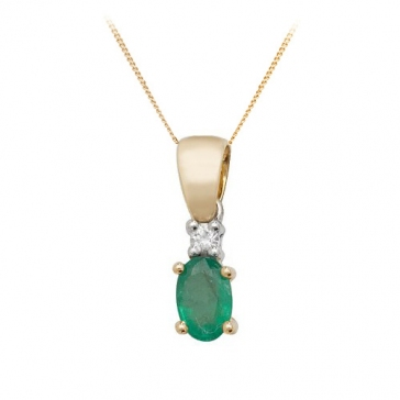 Oval Emerald & Diamond Pendant Necklace, 9k Gold