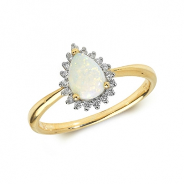 Pear Shape Opal & Diamond Ring 0.53ct. 9k Gold