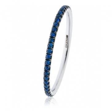 Petite Blue Sapphire Full Eternity Ring 0.30ct, 18k White Gold
