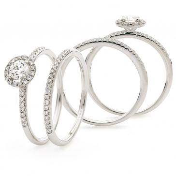 Petite Diamond Halo Bridal Set 0.50ct, 18k White Gold
