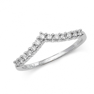 Petite Diamond Wishbone Ring 0.25ct. 9k White Gold