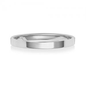 2mm Platinum Wedding Ring Flat Court, Medium
