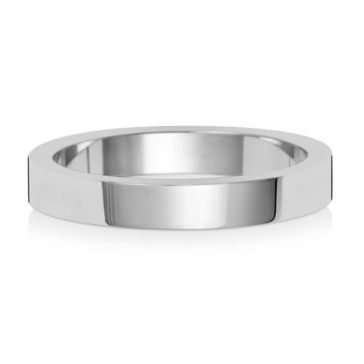 Platinum Wedding Ring Flat Profile, 3mm