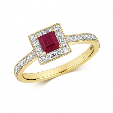 Princess Ruby & Diamond Ring 0.78ct. 9k Gold