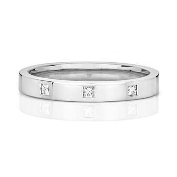 Princess Diamond Wedding Ring 0.06ct. 9k White Gold