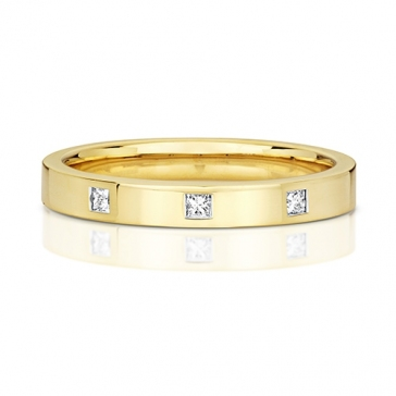 Princess Diamond Wedding Ring, 9k Gold