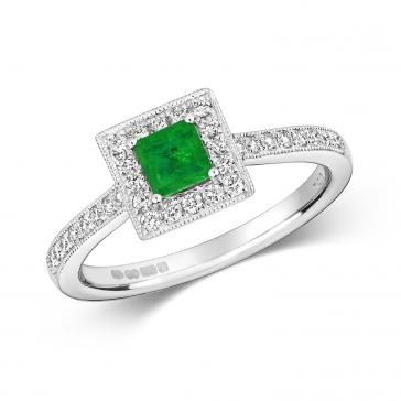 Princess Emerald & Diamond Ring 0.64ct. 9k White Gold