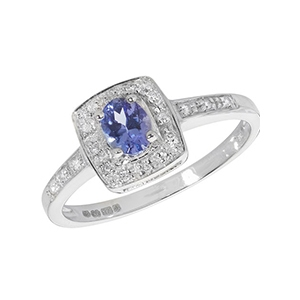 Diamond and Tanzanite Cushion Ring 0.40ct, 9k White Gold