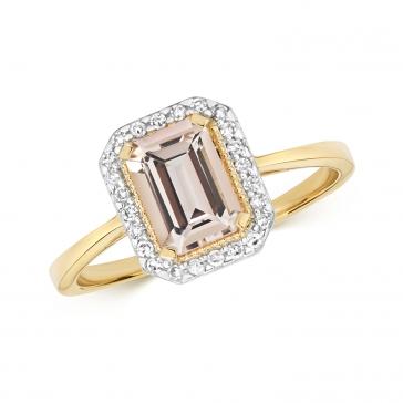 Morganite & Diamond Ring, 9k Gold