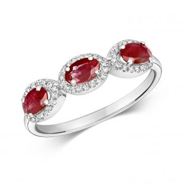 Ruby & Diamond Trilogy Ring 1.25ct, White Gold