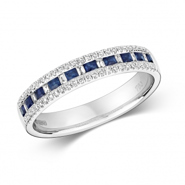 Sapphire & Diamond Half Eternity Ring 0.55ct, 9k White Gold