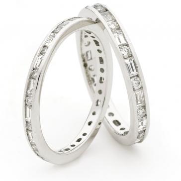 Round & Baguette Diamond Eternity Ring 0.95ct, 18k White Gold