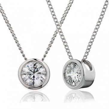 Diamond Rubover Pendant Necklace 0.40ct, 18k White Gold, G/SI1