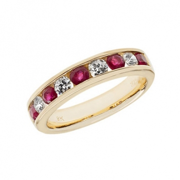 Ruby & Diamond Half Eternity Ring 1.07ct, 9k Gold