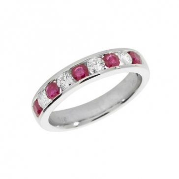 Ruby & Diamond Half Eternity Ring 1.07ct, 9k White Gold