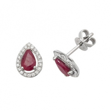 Ruby & Diamond Pear Cut Earrings, 9k White Gold