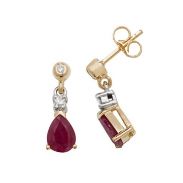 Ruby & Diamond Pear Drop Earrings, 9k Gold