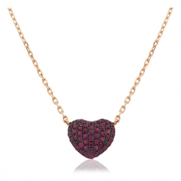 Ruby Pave Heart Necklace Rose Gold, 18k Rose Gold