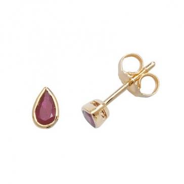 Ruby Pear Stud Earrings Rub-Over, 9k Gold