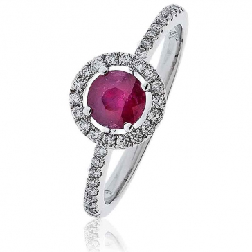 Ruby Ring With Diamond Halo 0.80ct, 18k White Gold