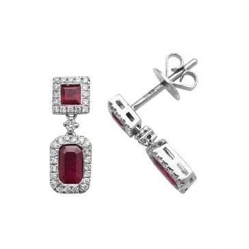 Ruby & Diamond Drop Earrings 1.12ct, 9k White Gold