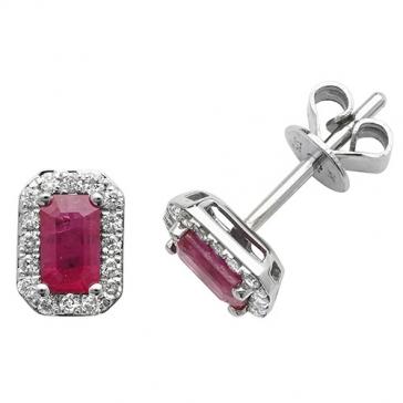 Ruby & Diamond Earrings 0.92ct, 9k White Gold