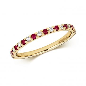 Ruby & Diamond Half Eternity Ring 0.30ct, 9k Gold