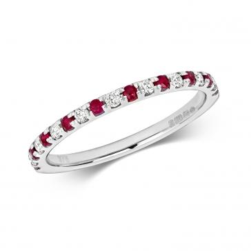 Ruby & Diamond Half Eternity Ring 0.30ct, 9k White Gold